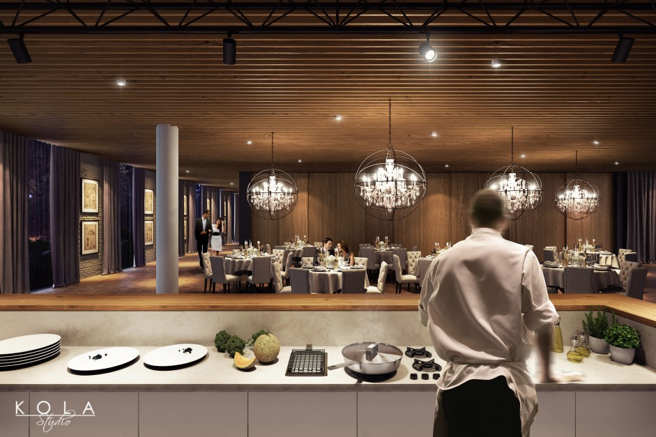 visualization of a hotel restaurant with open kitchen