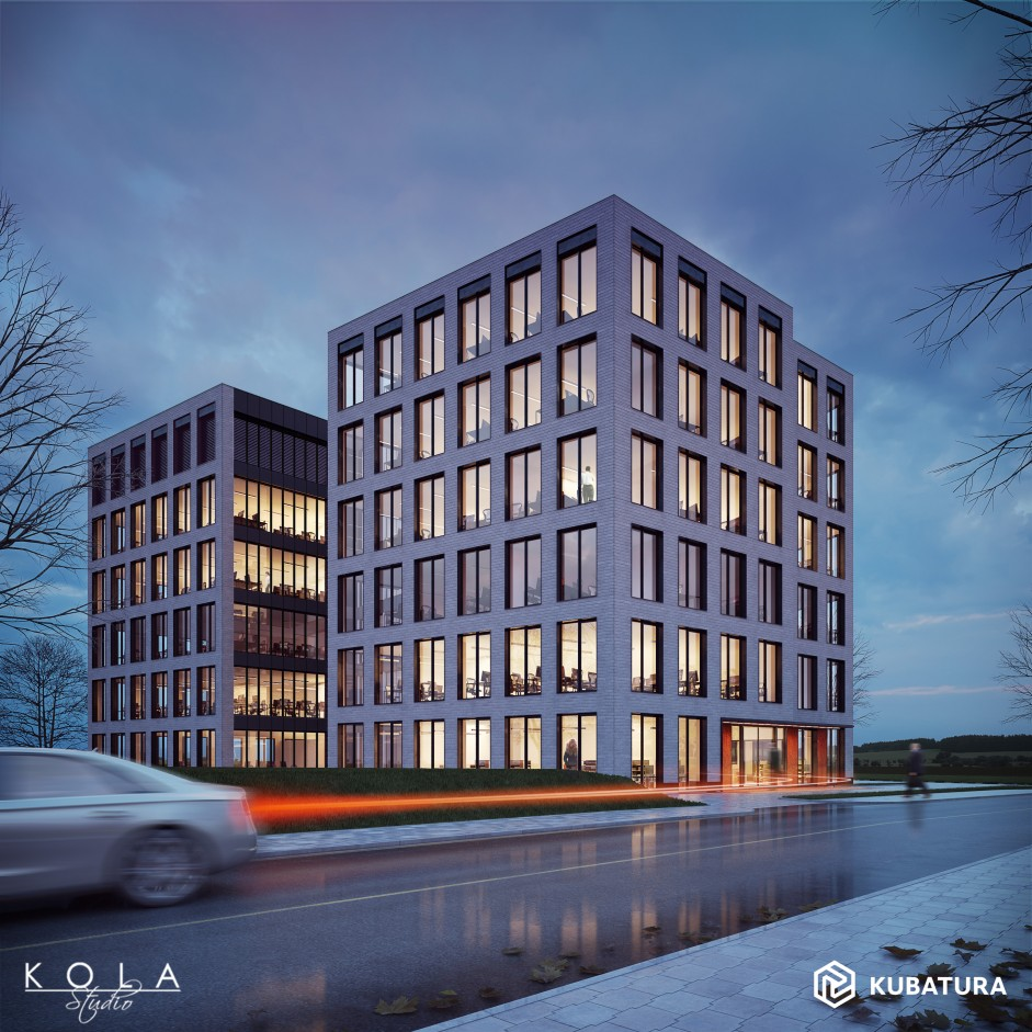 Visualization of an office building in evening light.