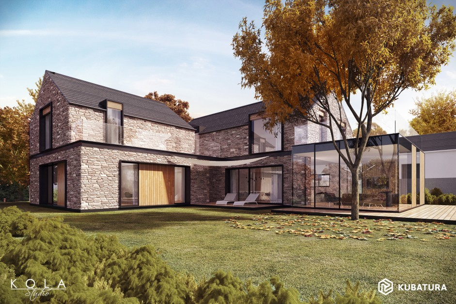 Visualization of a modern country house with stone walls.
