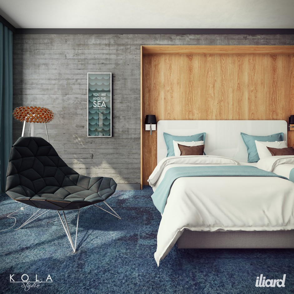 Visualization of a hotel room in a modern style