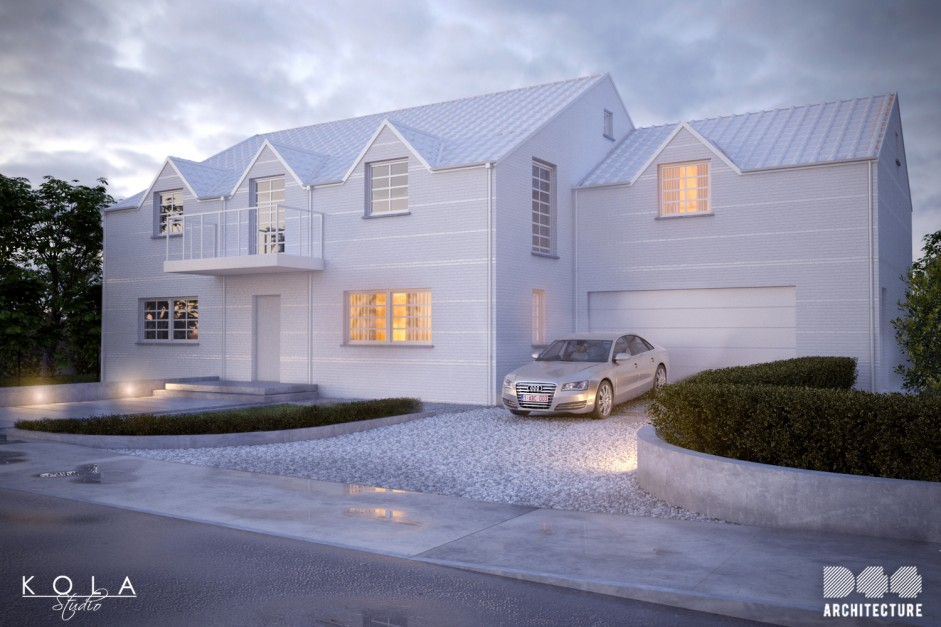 Visualization of a storey house in belgian style made of the white brick, shown at the evening view after rain.