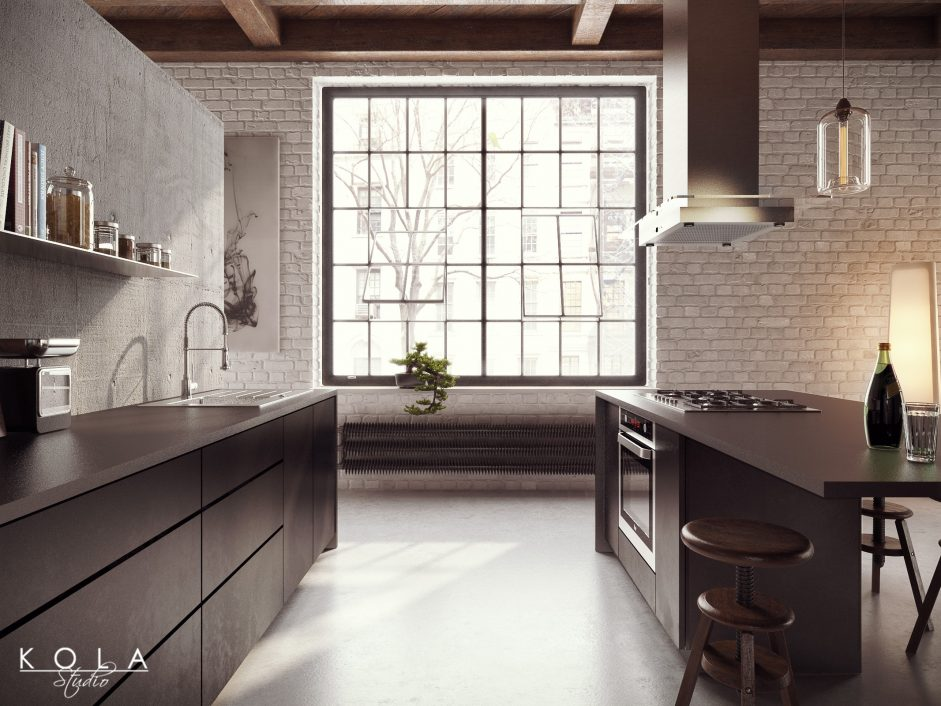 visualization of an industrial kitchen in loft with concrete wall and floor, wooden ceiling and dark cabinets