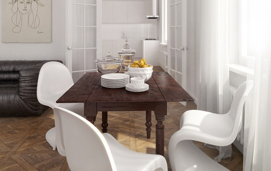 Visualization of an eclectic dining room in a townhouse, with white walls, antique table, modern white Vitra chairs, black leather sofa and beautiful old fashioned parquet.