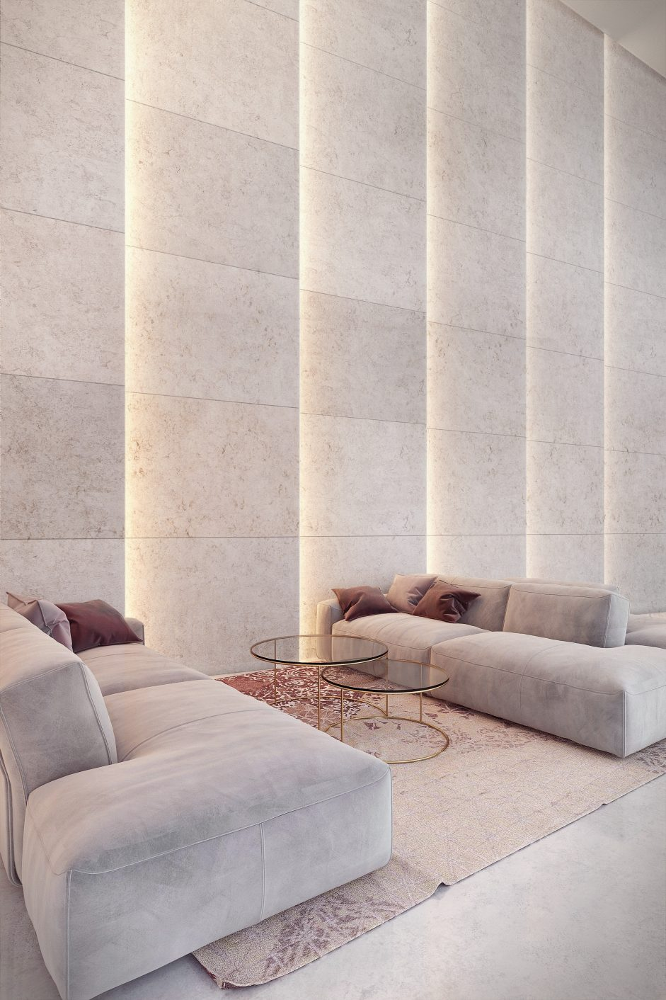 Visualization of elegant commercial interior in bright and beige colors, with stone wall with modern light design