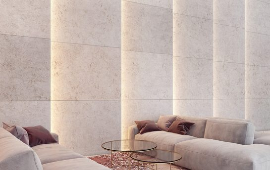 Visualization of a light design idea - travertine wall filled with resin and fluorescent pigment
