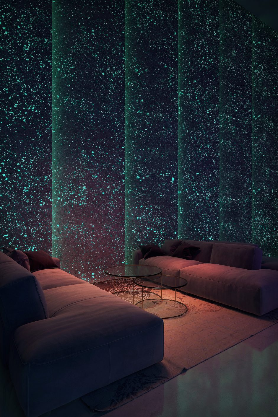Visualization of a night club with modern light design on wall