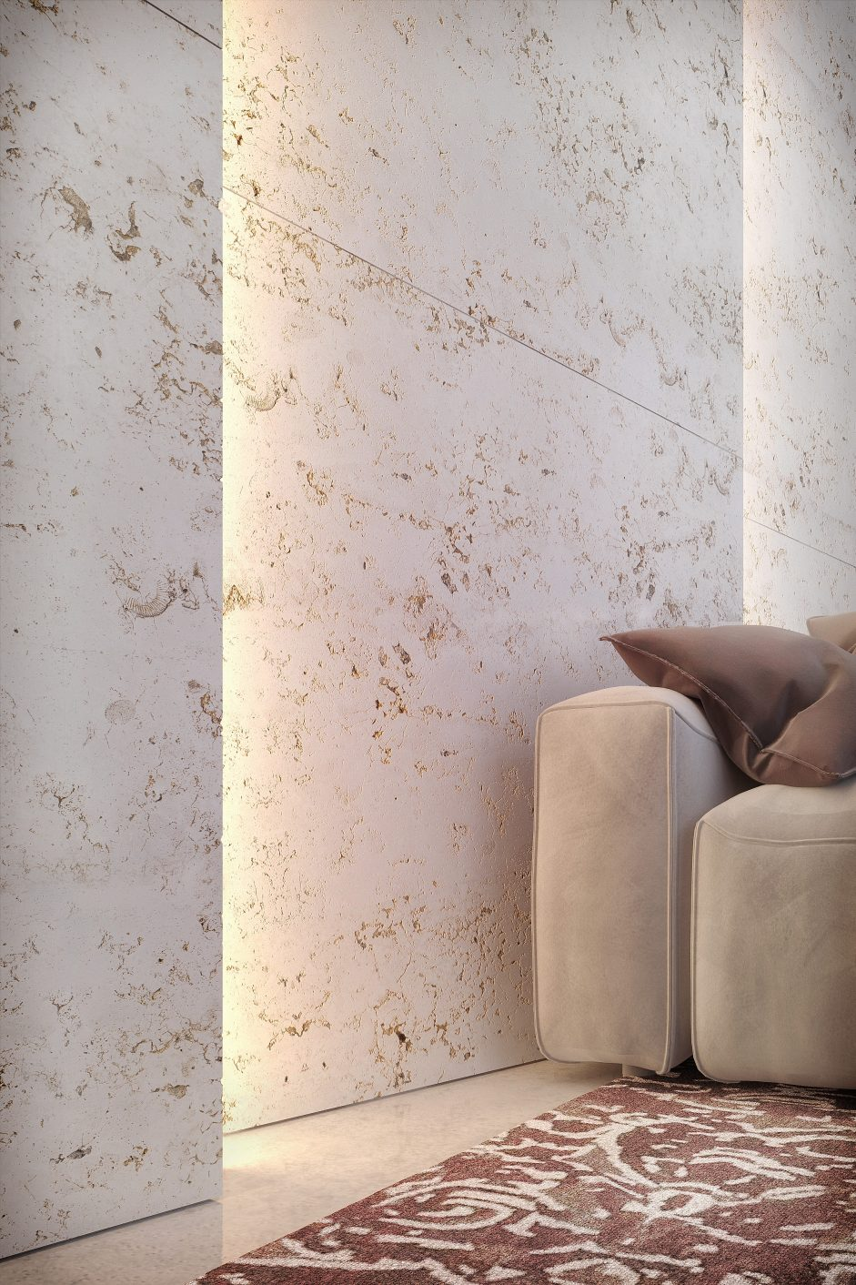 Product visualization, close up of a travertine wall