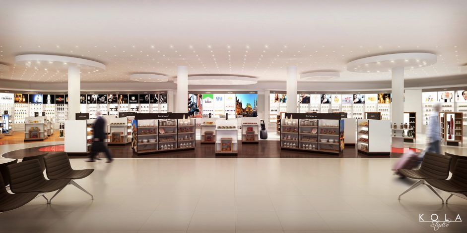 Bremen airport rendering, duty free shop