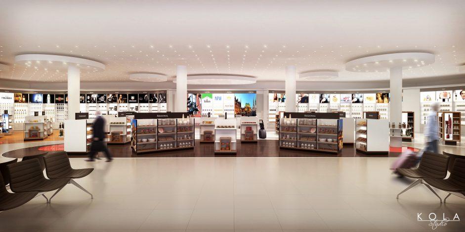 Bremen airport rendering, duty free shop