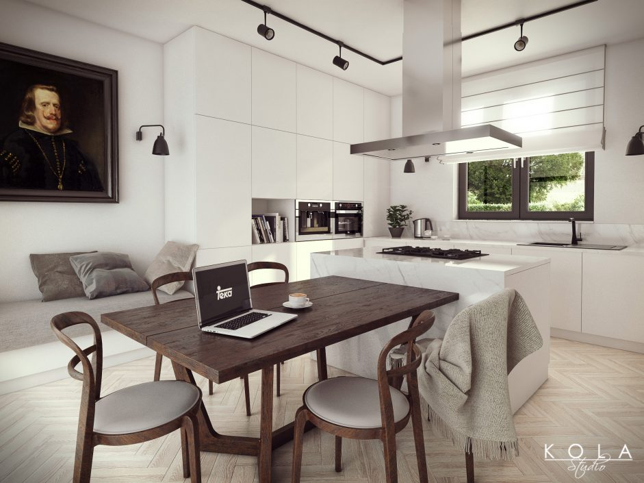 Interior visualization, big family kitchen with an island in an eclectic style with elegant white cabinets, marble countertops, black lamps, old wooden floor and table