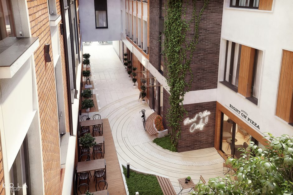 architectural visualizations of a 4 storey building and its internal courtyard 5