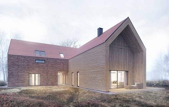rural barn style house visualization with brick and wood facades shown in an autumn season thumb