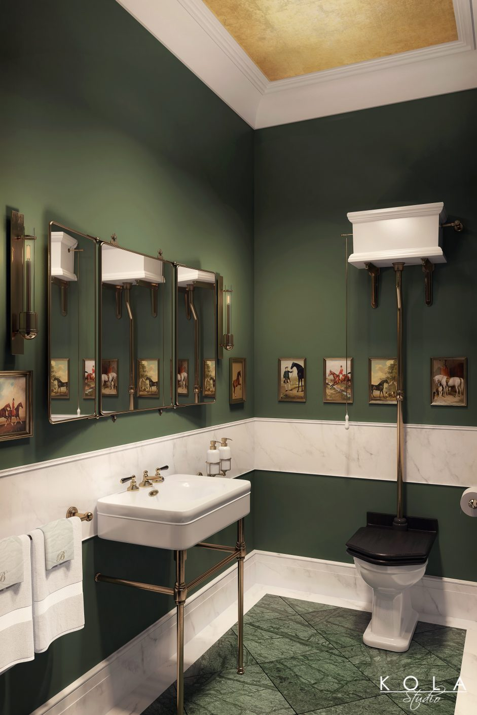 interior visualization of a classic british style bathroom in dark colours