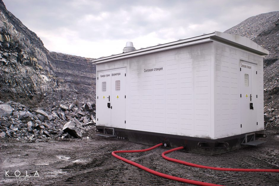 3d visualization of a container - transformer station on site in a quarry 1