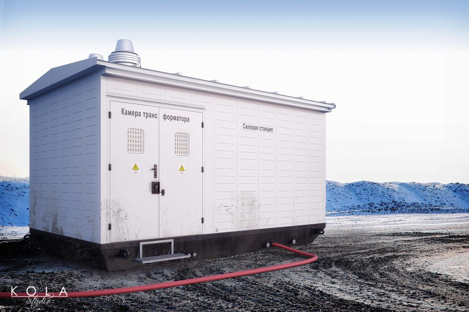 3d visualization of a container - transformer station on site in a quarry 2