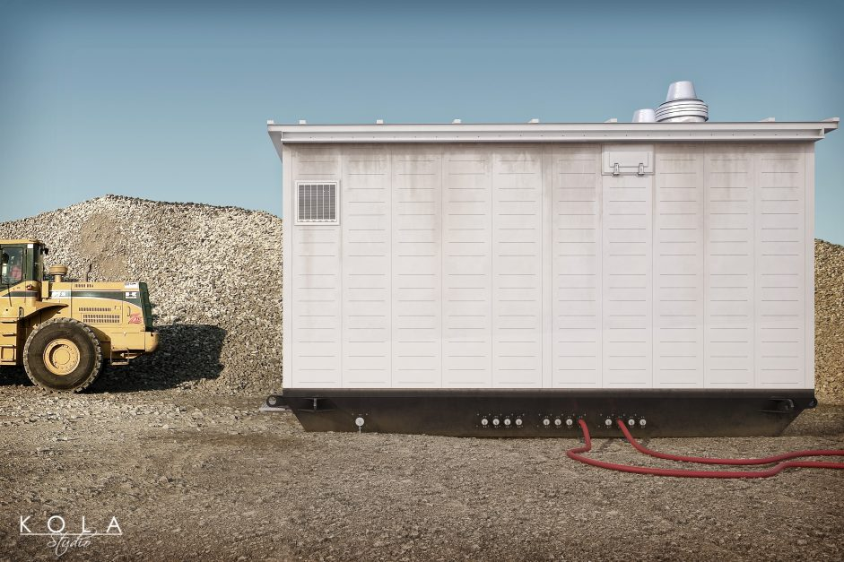 3d visualization of a container - transformer station on site in a quarry 3