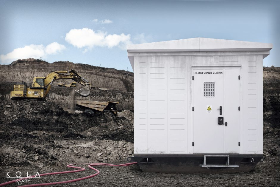 3d visualization of a container - transformer station on site in a quarry 4