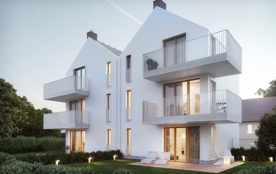 Photorealistic exterior visualizations of a medium size multi-family building designed in a minimalist style.
