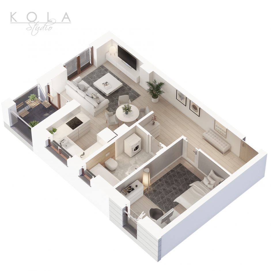 photorealistic 3d floor plan of a 2 bedroom apartment type 11W