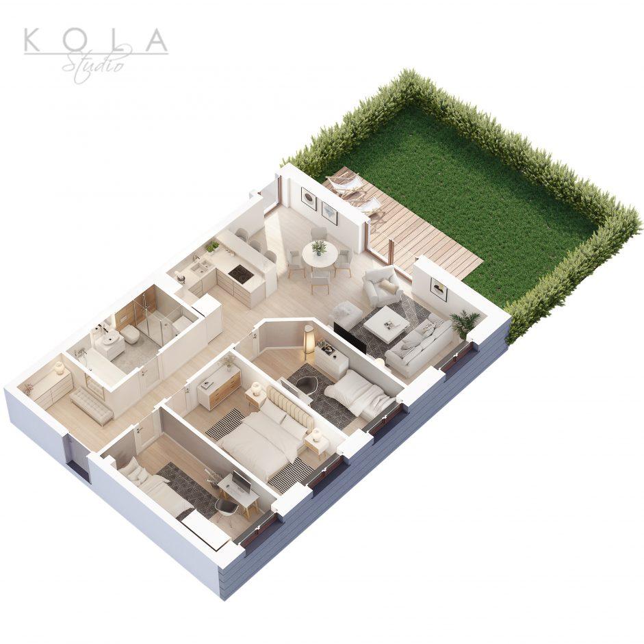 photorealistic 3d floor plan of a 4 bedroom apartment type 1W