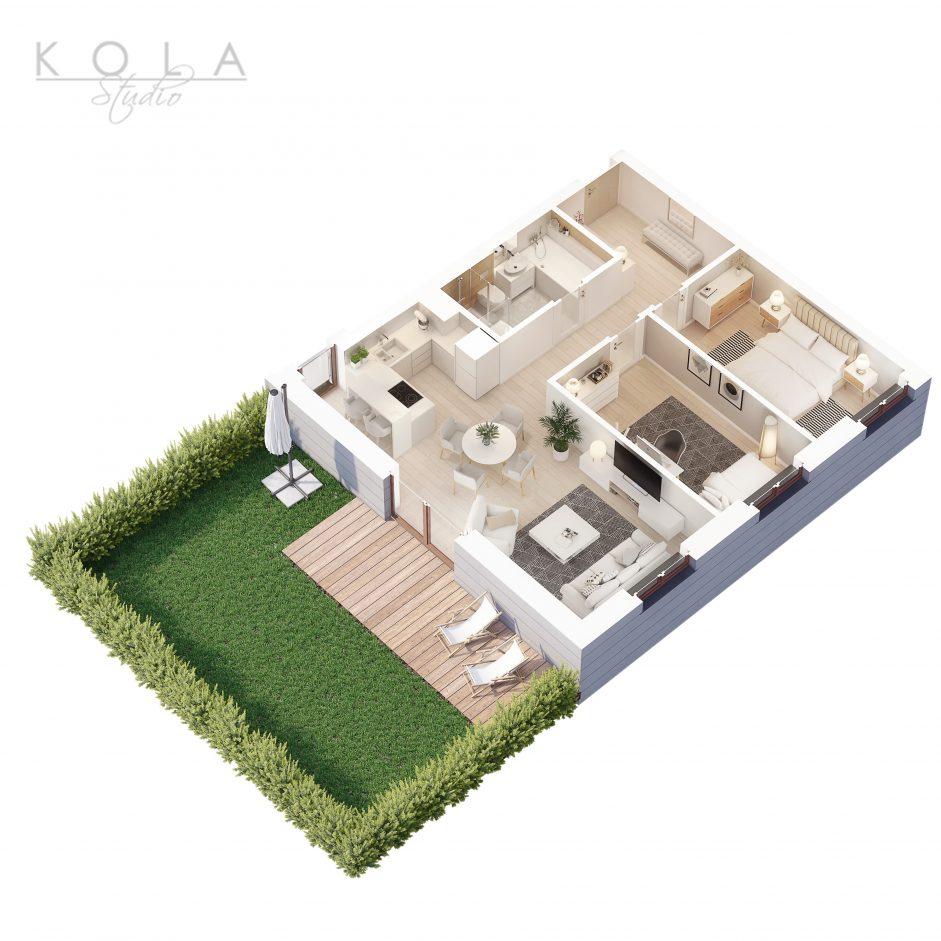 photorealistic 3d floor plan of a 3 bedroom apartment type 2W