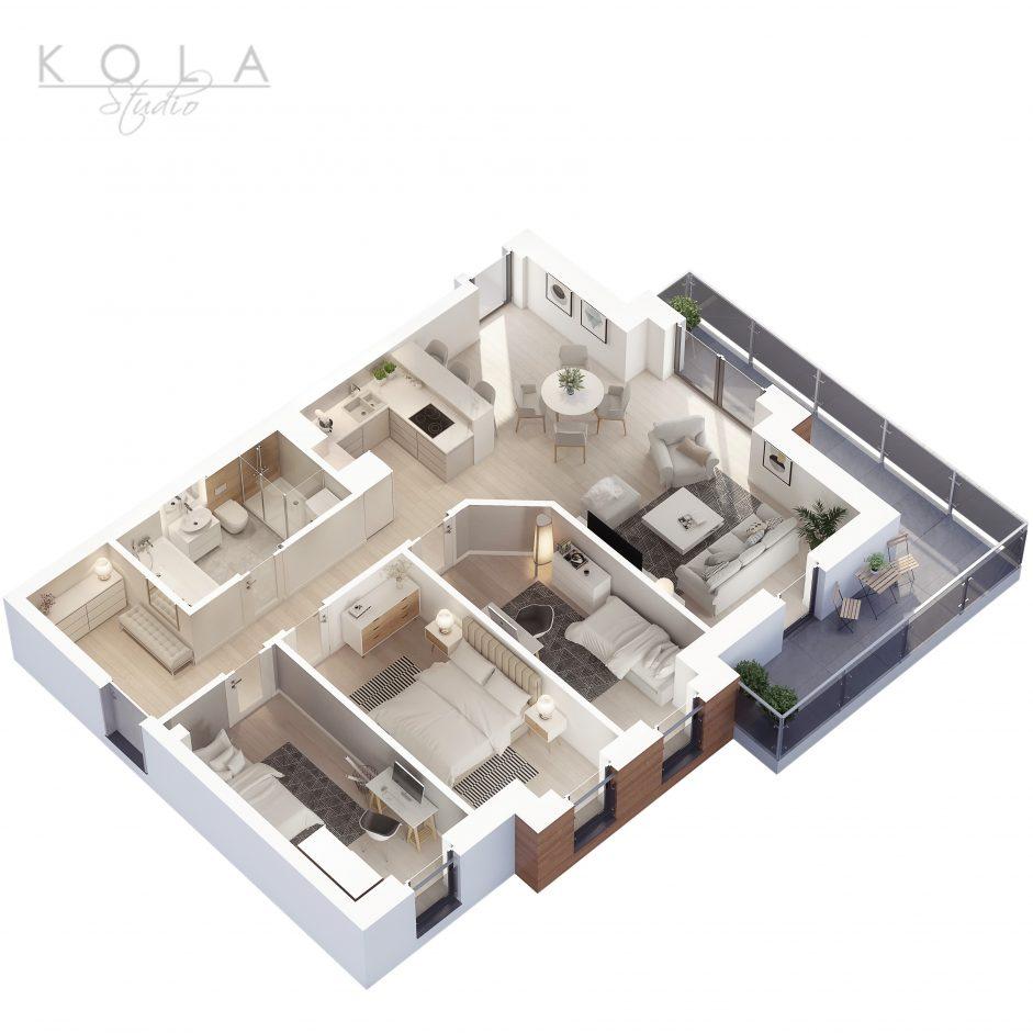 photorealistic 3d floor plan of a 4 bedroom apartment type 6W