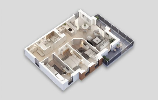 photorealistic 3d floor plan of a 4 bedroom apartment type 6Wt