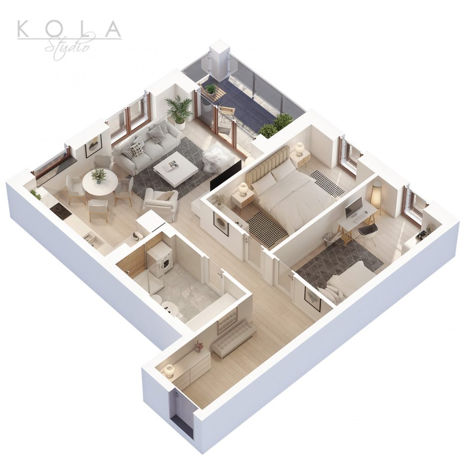photorealistic 3d floor plan of a 3 bedroom apartment type 8W