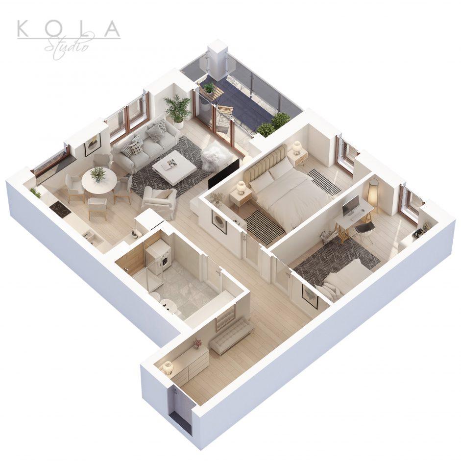 photorealistic 3d floor plan of a 3 bedroom apartment type 8W