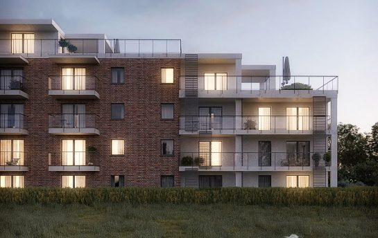 architectural visualization 3d of a multi-family building in an evening light thumb