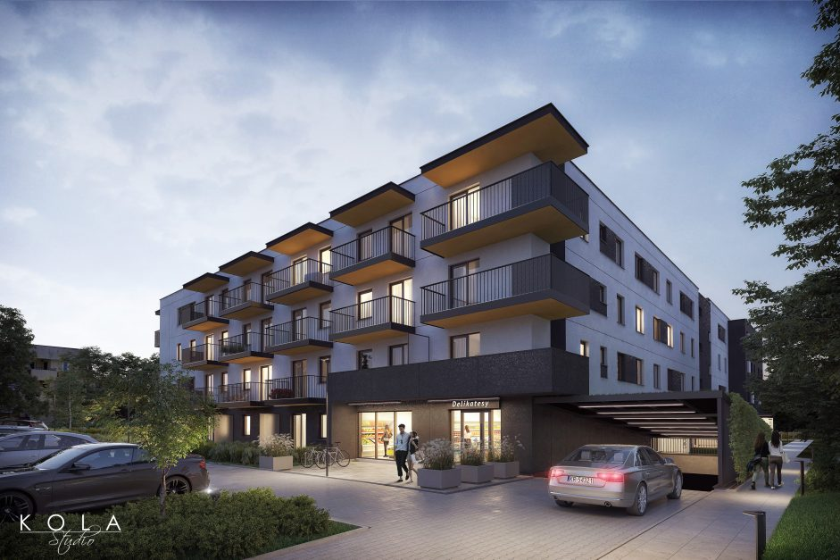 exterior visualization of a mid-rise residential complex in an evening light