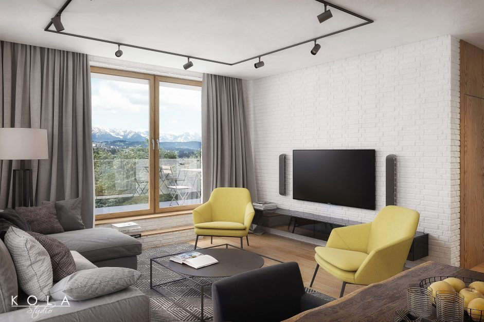 interior visualization of a modern style a[artment with mountains view outside the window
