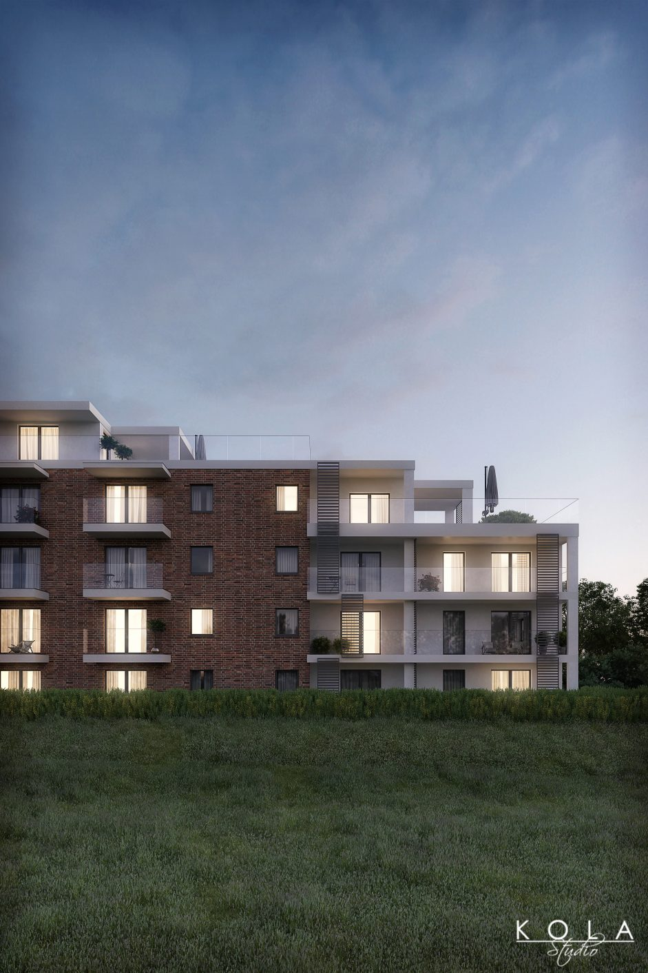 architectural visualization 3d of a multi-family building in an evening light