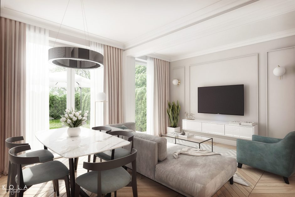 high quality 3d visualization of an elegant and glamour living room