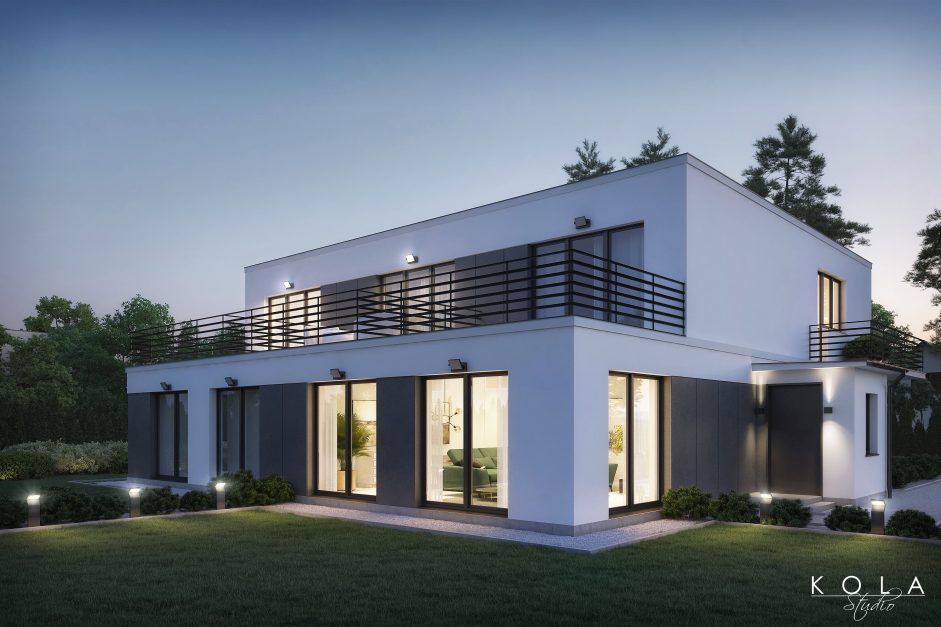 Evening light visualization of a modernist style house