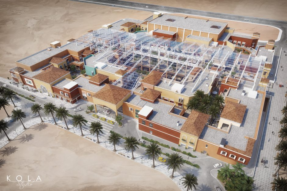 Bird-eye view visualization of a newly planned retail and entertainment centre in one of arab countries