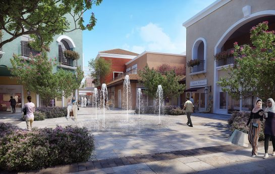 thumb - architectural and photorealistic visualization of an internal courtyard of a shopping mall centre in Jordan